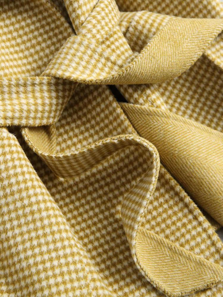 2019 новое шерстяное Женское пальто в Корейском стиле, клетчатое пальто из альпаки, куртка в ломаную клетку, модное шерстяное Женское пальто Abrigo Mujer KQN38091 KJ2327