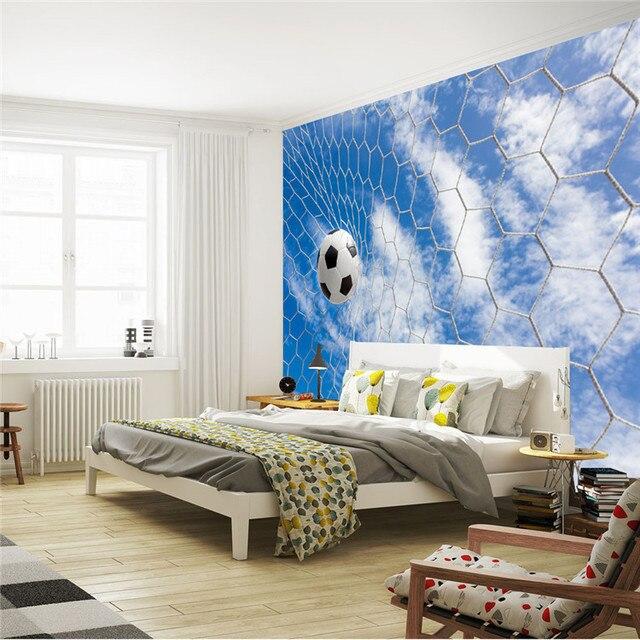 Fußball U0026 Blue Sky Fototapete Fußball 3D Wandbild Benutzerdefinierte Silk  Tapete Kunst Malerei Raumdekor Kinderzimmer Schlafzimmer