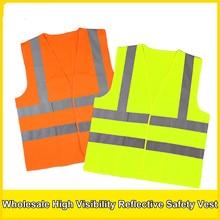2018 adult safety vest polyester knitted vest traffic safety construction of reflective vest