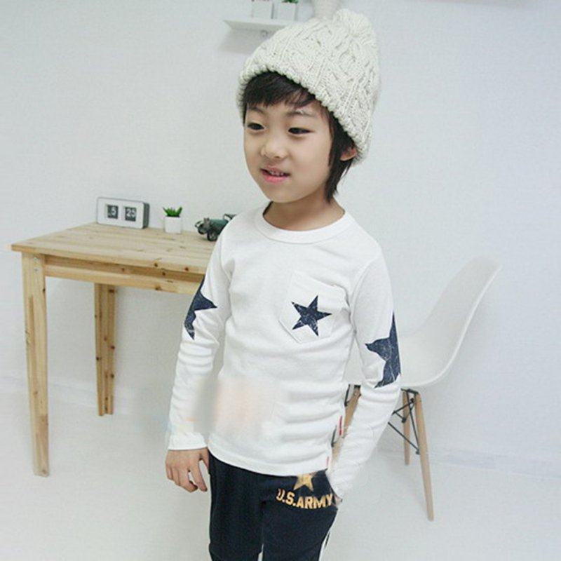 Kids Boy Toddler Baby Star Pattern Long Sleeve Tops T-shirt Shirt Outfit Clothing