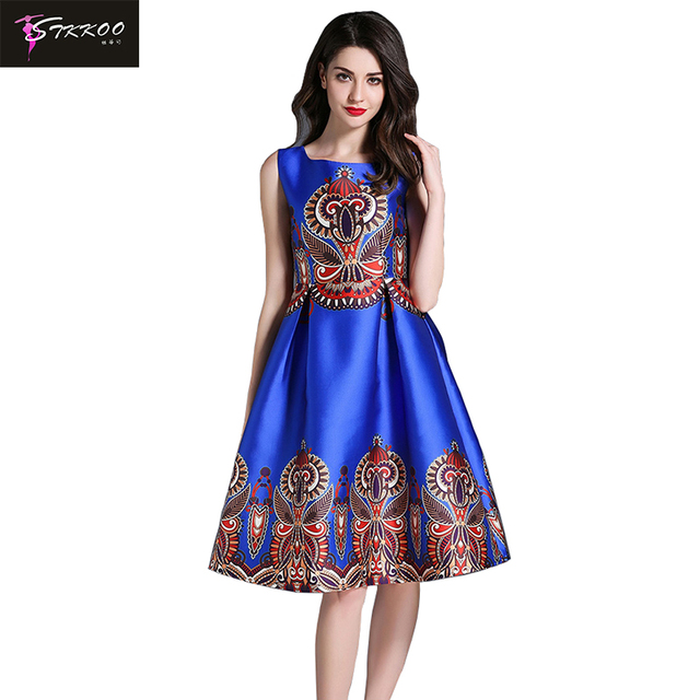 6b88e732a24d 2018 New Summer Autumn Casual Dresses Women Sleeveless Dress Floral Print O  Neck A Line Knee Length Party Dress Vestidos