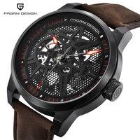 PAGANI DESIGN 남성 해골 기계식 시계 방수 30M 정품 가죽 브랜드 럭셔리 중공업 자동 시계 남성 시계