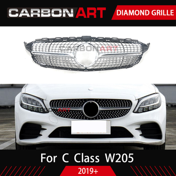 2019 W205 เพชร grille เหมาะสำหรับ C Class w205 หม้อน้ำ grille 2019 + C450 250 180 C200 C220 ด้านหน้า grill กันชนด้านหน้า
