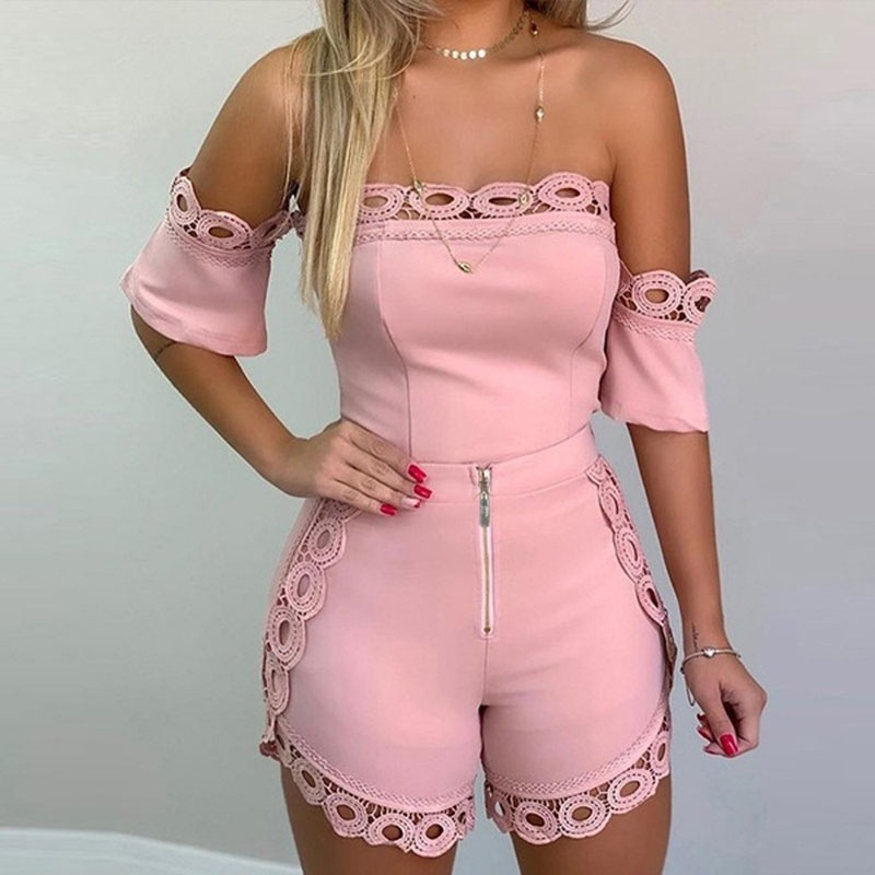Sexy Off the Shoulder Hollow Out Lace Detail Women 2 pcs Set Top and Shorts Female Short Sleeve 2 Piece Outfits Streetwear