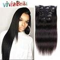 Новый Дешевый Клип в Расширениях Человеческих Волос Яки Прямо Клип в Наращивание Волос Бразильские Человеческие Волосы Афро-Американской Клип в волос