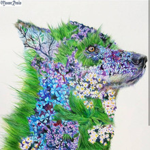 MOONCRESIN 5D Diamond Mosaic Colorful Alien Dog Pattern Sticker Full Square Embroidery Flower Diy Painting Kits