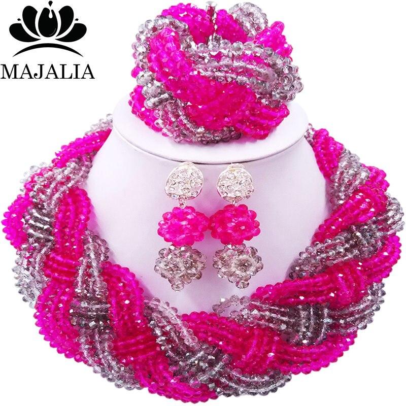 Majalia African Fashion Women Jewelry Set Hot pink glear grey Nigerian Wedding Jewelry Beaded Sets 12CB0016 majalia african fashion women jewelry set royal blue nigerian wedding jewelry beaded sets 12cb006