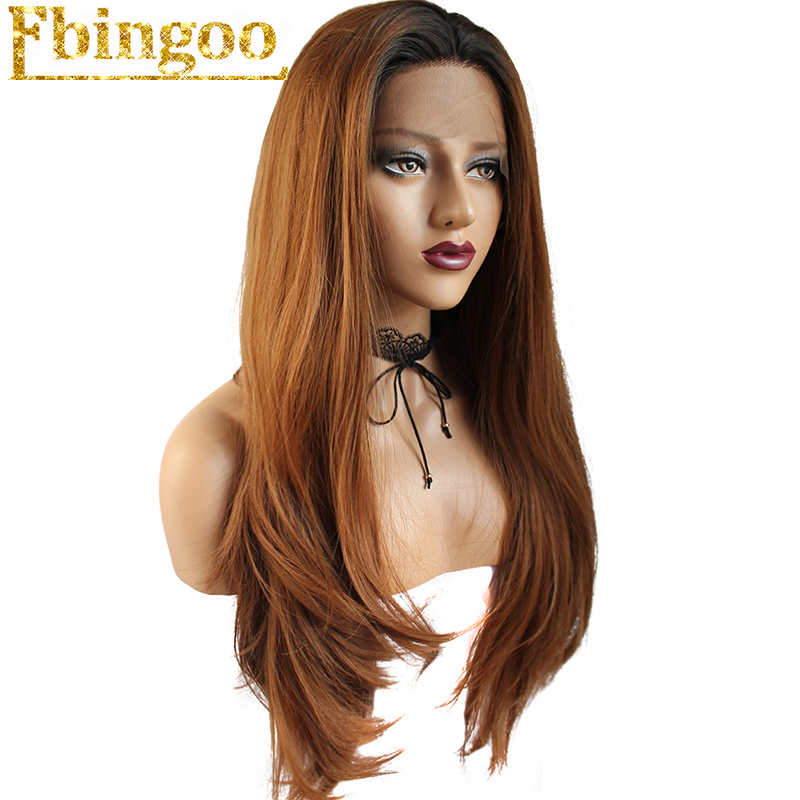 Ebingoo High Temperature Fiber Peruca Long Natural Wave Hair Wigs Black Ombre Brown Synthetic Lace Front