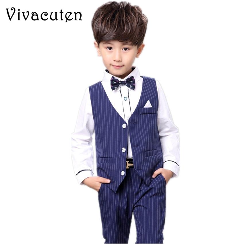 Brand Kids Boy Wedding Vest Pants 2pcs Suit Birthday Dress Fashion England Gentle Kids Formal Suit Children Clothing Set F049