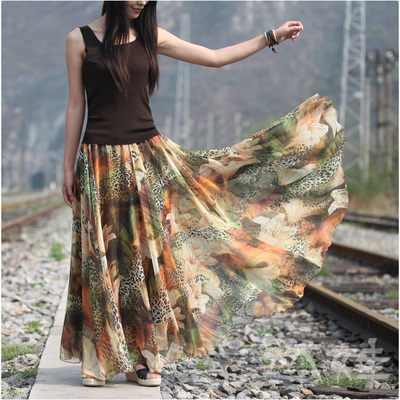 Summer Floral Printed Maxi Chiffon Skirt 2017 Women Holiday Bohemian Beach Pleated Long Skirt Boho Saia Longa все цены