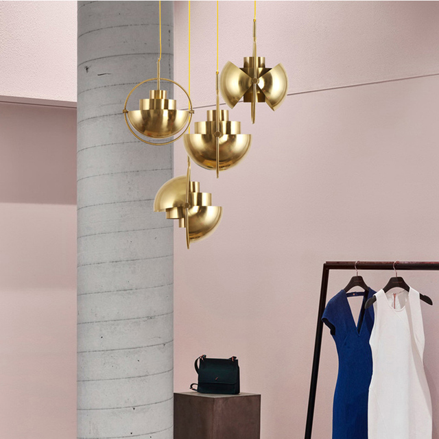Nordic Metal Gold Pendant Light Multi Semi Circular Pendant Lamp