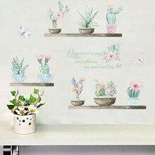 3D Vivid Pastoral fresh Plant wall sticker plant cactus decals nursery children window home decor decal art poster