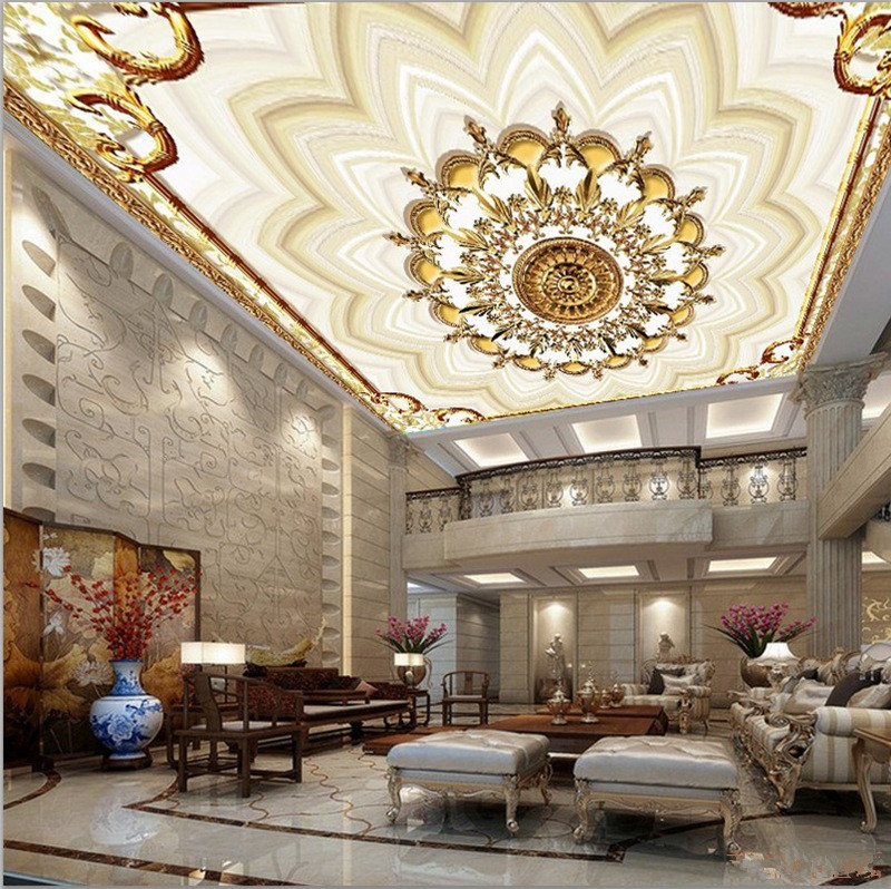 Custom 3d ceiling murals wallpapers european style luxury for Ceiling mural in smokers lounge