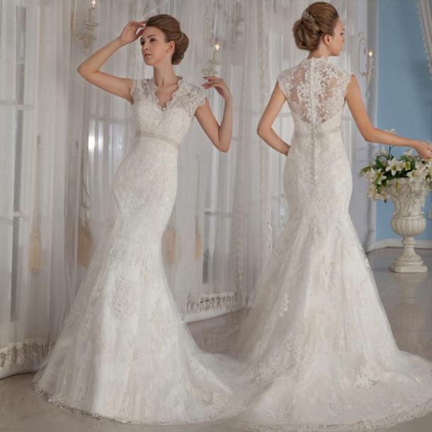 Vintage dentelle sirène robe De mariée avec Cap manches 2015 robes De mariée  De luxe Appliques