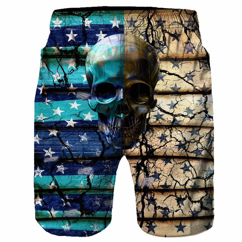 2019 fashion trend new high-end hot sale Men Casual 3D Skull Printed Beach Work Casual Men Short Trouser Shorts   c0322