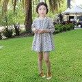 Дети горячие корейских детей платья девочек платье принцессы хлопка с длинными рукавами животных печать