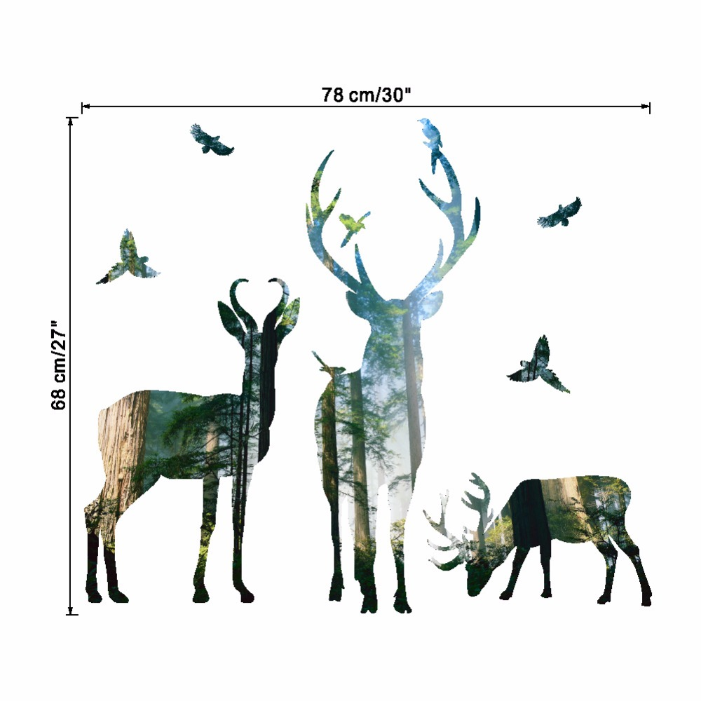 Elk Forest Silhouette Wall Stickers Home Decoration Living Room Door ...