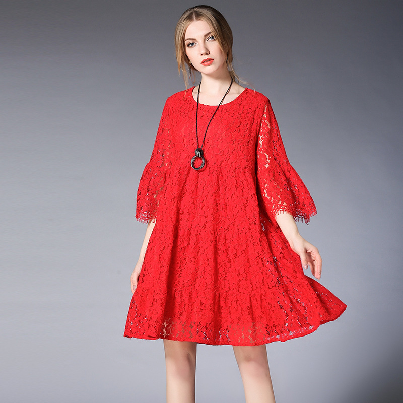 цена на 2018 New Spring European American Lace Hollow Out Knee-length Pregnancy Clothes Black/Red Half Sleeve Fashion Pregnant Dresses