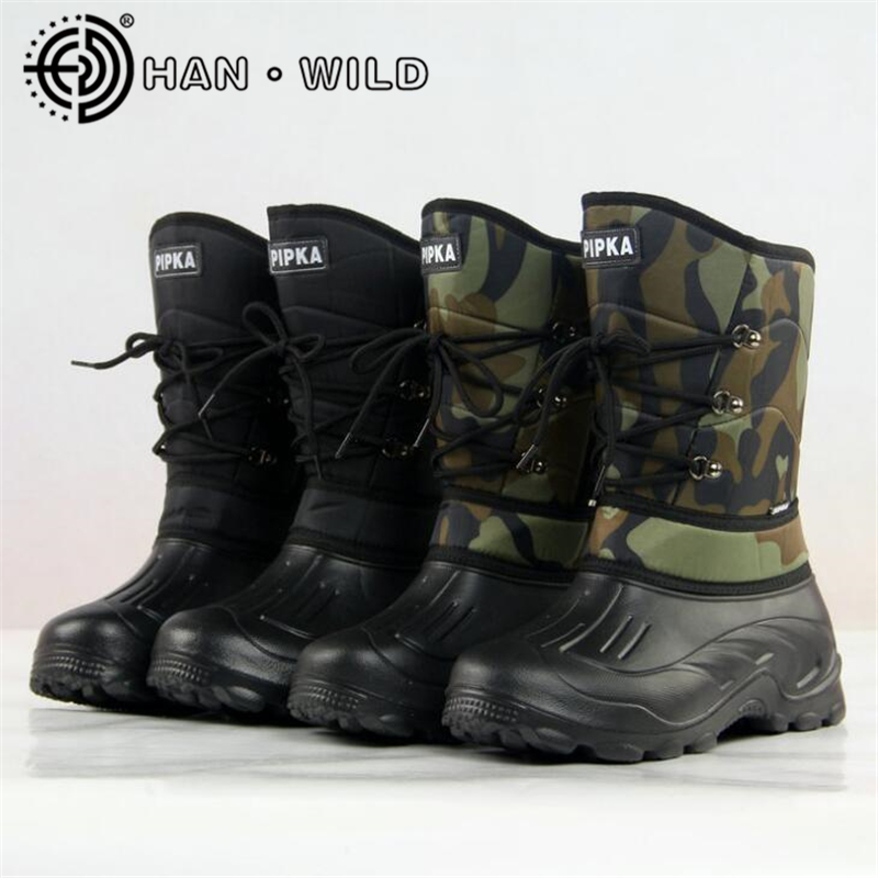 Males Waterproof Snow Boots Non-Slip Fishing Boots Winter Heat Mens Snowboarding Sneakers Mid-Calf Camouflage Military Boots Army Sneakers