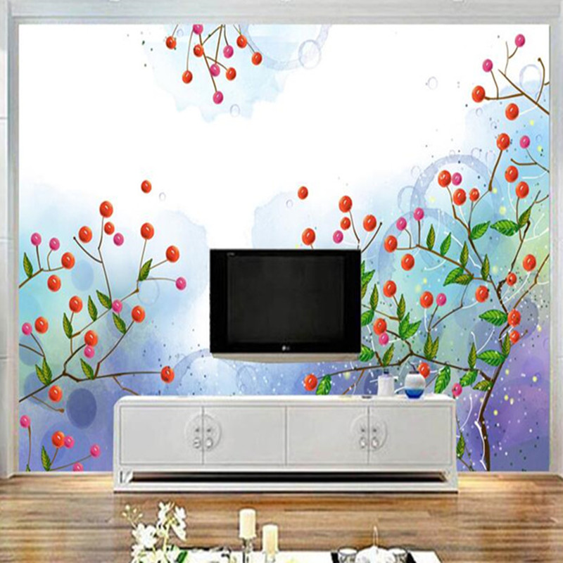 Cartoon Wallpapers Abstract Art flower Mural Wallpaper for Kids Room Wall Papers Home Decor Cute Wallpapers Fantasy Safflower dsu new butterfly flower fairy wall sticker kids room bedroom removable decor art home mural
