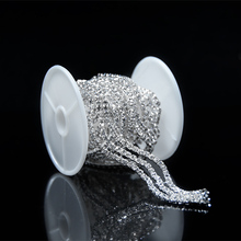 10Yards Clear Rhinestone Diamante Silver Tone Costume Chain Sewing Trims Bling