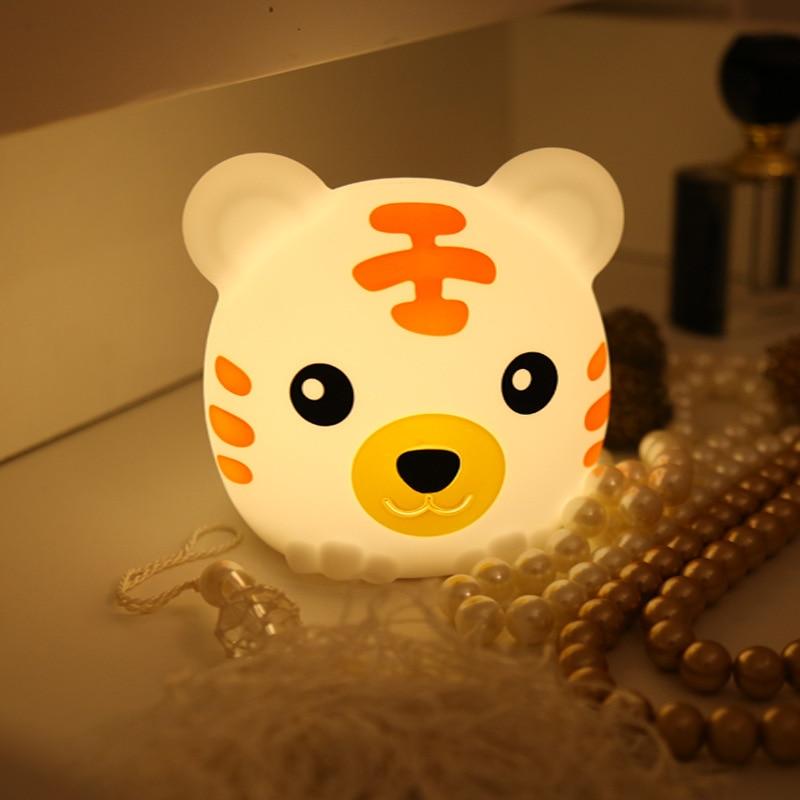 Bunte tiger silikon nacht licht Schlafzimmer kreative traum nachttisch lampe Lade pat licht