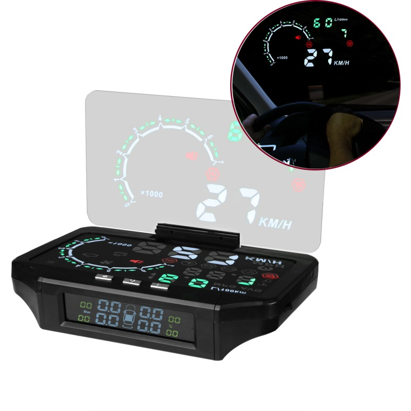 Bluetooth Car HUD Head Up Display Car TPMS HUD & Tire Pressure Monitoring Sensor Color Projection Overspeed Alarm Diagnostic