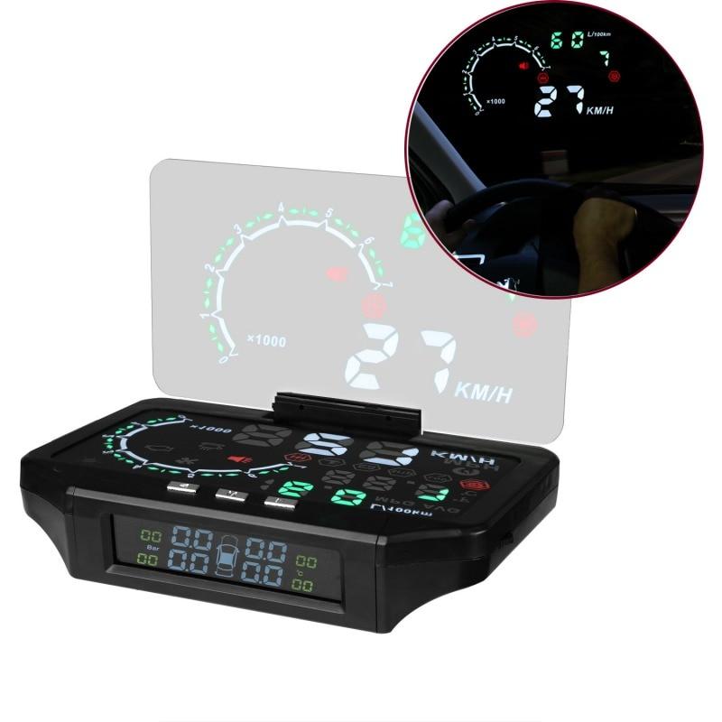 Bluetooth Car HUD Head Up Display Car TPMS HUD & Tire Pressure Monitoring Sensor Color Projection Overspeed Alarm Diagnostic