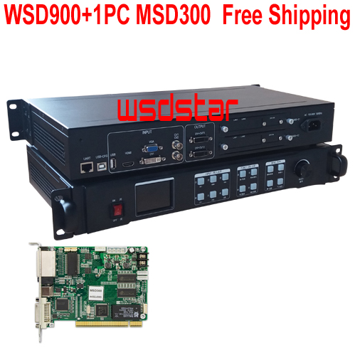 WSD900+1PC MSD300 LED Video Processor input HDMI/DVI/VGA/CVBS 1920*1200 Hot LED rental screen video processor Free Shipping-in LED Displays from Electronic Components & Supplies