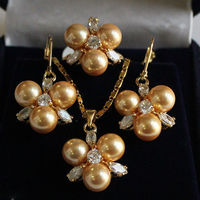 Frauen Hochzeit Rare 8mm Yellow Südsee Shell Perlen Ohrringe Ring & Halskette Anhänger Jewel Gesetzt real silber-schmuck