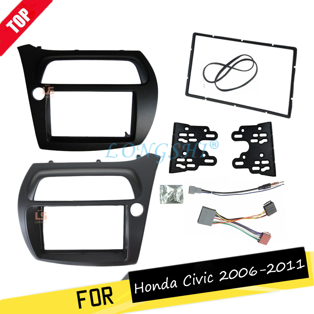 LONGSHI Double Din Fascia for Honda Civic Radio DVD Stereo Panel Dash Installation Face Frame with