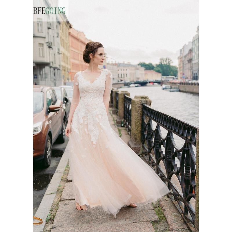 Ivory Lace Applique Tulle V-Neck   A-line Wedding Dresses Half Sleeves Floor -Length Chapel Train   Custom Made
