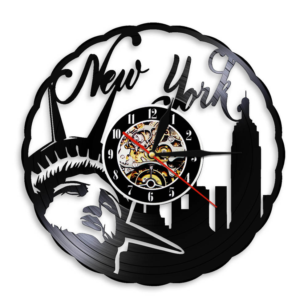New York City Vinyl Record Wall Clock USA Statue Of Liberty Vintage Travel Gift Wall Hanging Decor Watch With Color Back Light