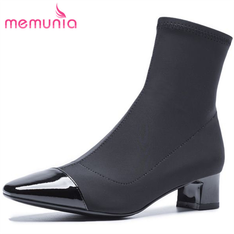 MEMUNIA new arrive cloth+genuine leather boots fashion autumn winter ankle boots for women square med heels boots women shoes memunia solid two colors ankle boots for women winter boots low square heels zip fashion contracted boots party shoes