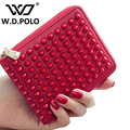 W.D.POLO New color rock stud women split leather wallet high chic brand design lady mini wallets easy clutch hand bag M2339