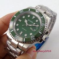 modisch 40mm Bliger Sapphire glass Green dial ceramic bezel Deployment clasp Luminous Marks Automatic movement Men's Watch