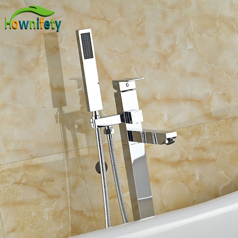 Luxury Floor Standing Tub Faucet Brass Chorme Finish Bathtub Tap Free Stand Single Handle Mixer Faucet