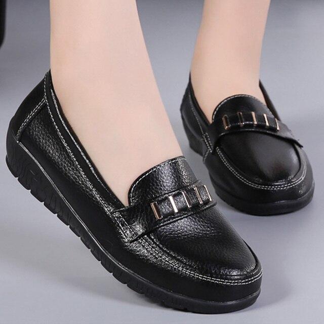 dbf0990be7bc15 Schuhe Frau Frühling Wohnungen Plus Größe 35-44 Echtes Leder Boot Schuhe  2019 Mode Slip-on Casual Schuhe frauen Wohnungen