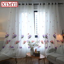 2017 new white embroidered tulle curtains for living room kitchen curtain window Custom Made