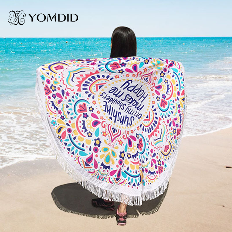 New Large Polyester Cotton Round Tassel Beach Towels Fashion Blanket Bohemian Printed Tapestry toalla de playa tapiz manta