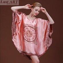 Nightgowns & sleepshirts vintage ladies elegant silk satin nightgowns women homewear retro sleep shirt  AA095