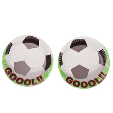 10pcs/lot hot Cartoon football theme Party Decoration Paper plate tray Cap baby shower wedding decor happy birthday Supplies