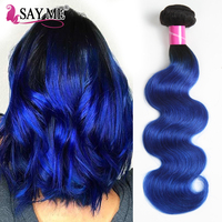 Ombre Peruvian Body Wave Hair 1/3/4 Bundles Deal Pack Remy Human Hair Weaving Dark Roots T1B/Blue Ombre Peruvian Human Hair