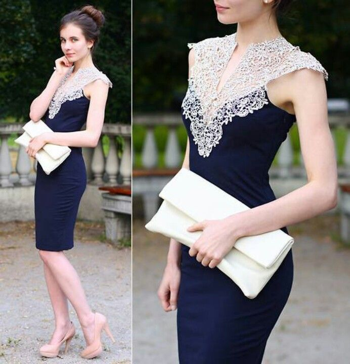 White dress with navy blue lace
