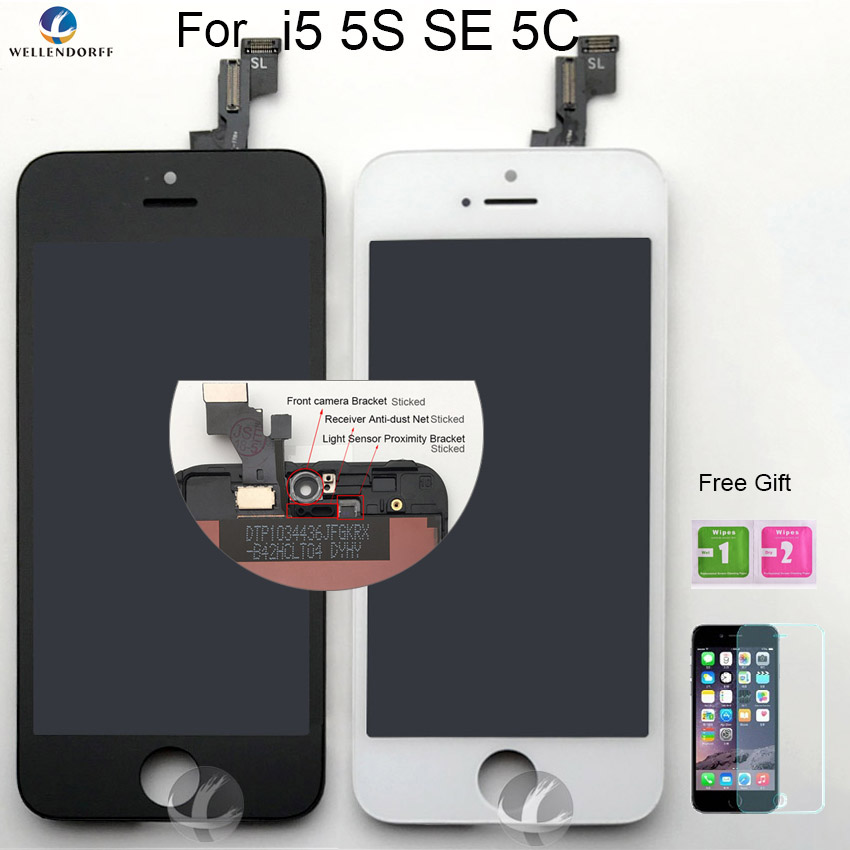 LCD Screen For iPhone 5 5S SE 5C LCD Dispaly Touch Screen Digitizer Assembly AAA 100% Tested No Dust No Dead Pixel Free Shipping
