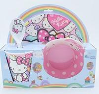 4 pcs/set Baby Melamine Dinnerware With Gift Box Including Plate Bowl Sippy Cup Utensils Fox Design Brand New