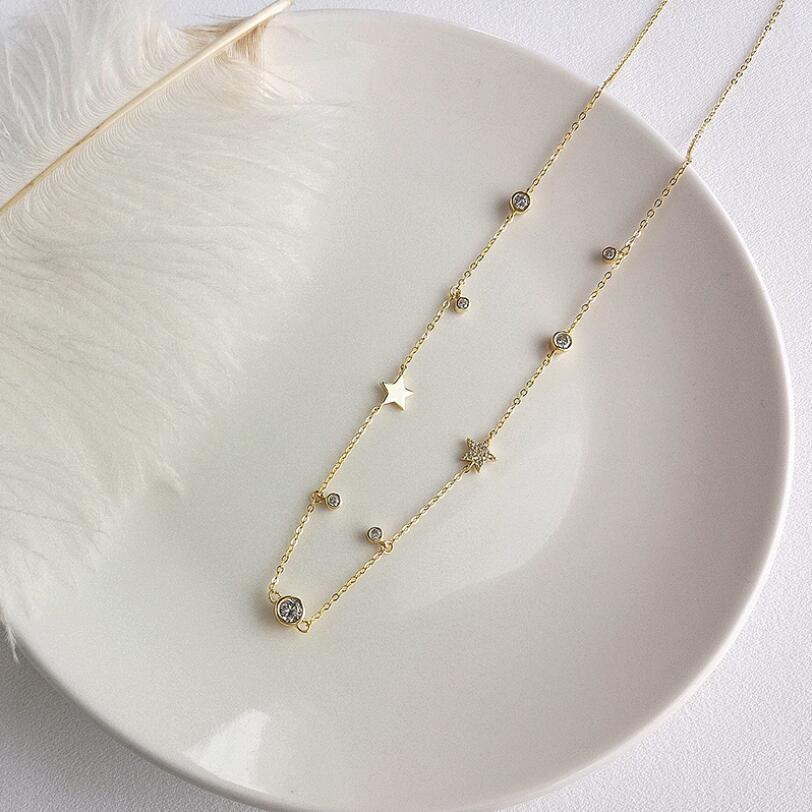 100% 925 Sterling Silver CZ Star Charm Wedding Bridal Gift Jewelry Charm Choker Minimal Delicate Women Fashion Pendant Necklaces