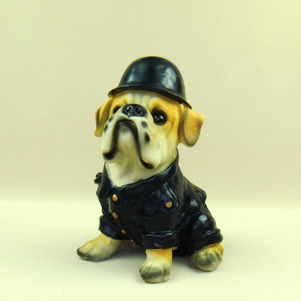 Funny Figurines Bulldog in Uniform Resin Pitbull Miniature Cartoon ...