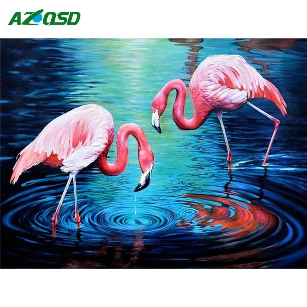 AZQSD Diamond Painting Amimal Cross Stitch Diamond Embroidery Flamingos Diamond Mosaic Needlework Rhinestones Gift
