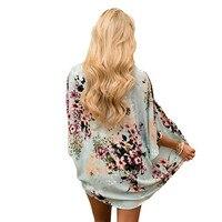 Vintage Chiffon Blouse Women Kimono Cardigan Printed Fringed Hem Lace Shawl Oversized Tops blusas mujer de moda 2018 New18Aug21 blouse